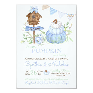 Blue Pumpkin Patch Birdhouse Boy Baby Shower Card
