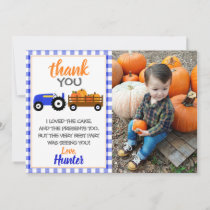 Blue Pumpkin Tractor Thank You Card