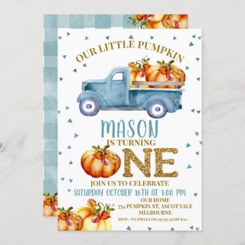 Blue Pumpkin Truck 1st Birthday Invitation