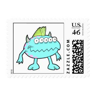 blue punk mohawk monster many eyes postage stamps