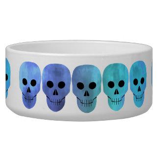 Blue punk skull pattern bowl