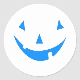 Blue Punkin Face Halloween Design Classic Round Sticker