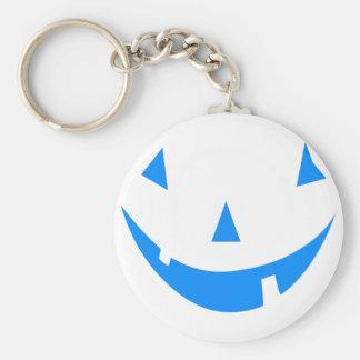 Blue Punkin Face Halloween Design Keychain
