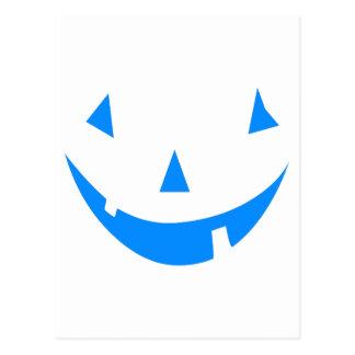 Blue Punkin Face Halloween Design Postcard