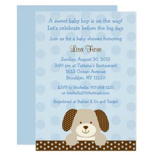 Blue Puppy Baby Shower Card