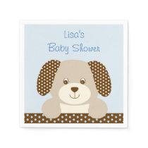 Blue Puppy Baby Shower Napkin