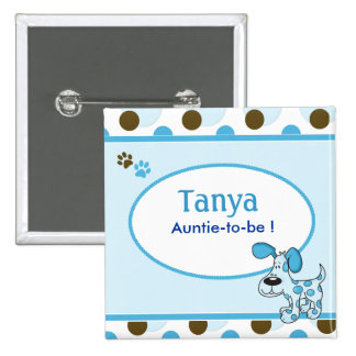 Blue Puppy Dog Baby Shower Name Tag Button