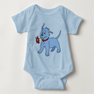 Blue Puppy Dog with Flower - Baby Creeper