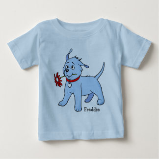 Blue Puppy Dog with Flower - Baby T-shirt