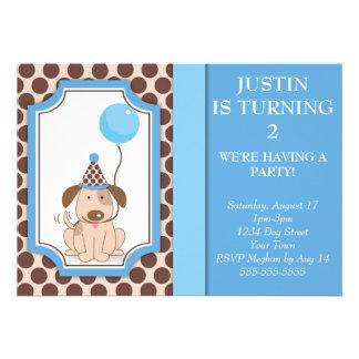 Blue Puppy Party Custom Invite