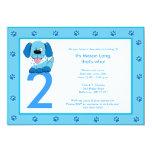 BLUE PUPPY Paw Print 5x7 Birthday Invitation