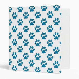 Blue puppy paw prints design binder