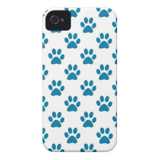 Blue puppy paw prints pattern Case-Mate iPhone 4 case