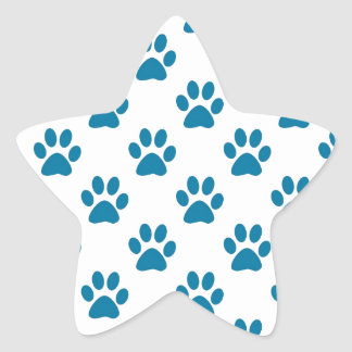 Blue puppy paw prints pattern star sticker