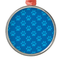 Blue puppy paws pattern metal ornament