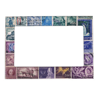 Blue-Purple 1 Postage Stamp Collage, Picture Frame Magnetic Picture Frame