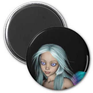 Blue & Purple 3D Mermaid 5 Close-up 2 Inch Round Magnet