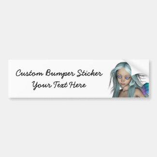 Blue & Purple 3D Mermaid 5 Close-up Bumper Sticker