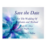 Blue & Purple Abstract Floral Save the Date Card Postcard