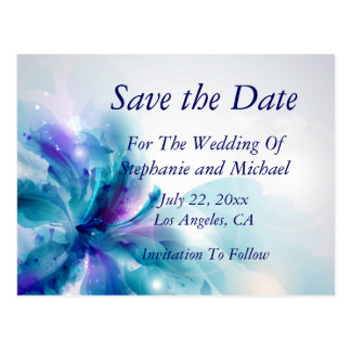 Blue & Purple Abstract Flower Save the Date Card Postcard