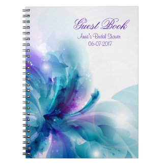 Blue & Purple Abstract Flower Shower Guest Book Spiral Notebook