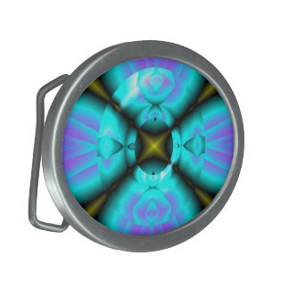 Blue purple abstract fractal Belt Buckle