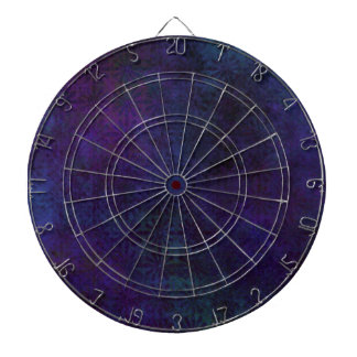 Blue & Purple Abstract, Grungy Digital Art Dartboard With Darts