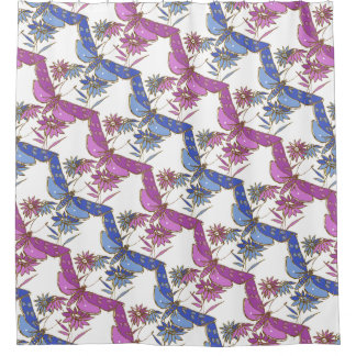 Blue, Purple and Gold Dragonfly Shower Curtain