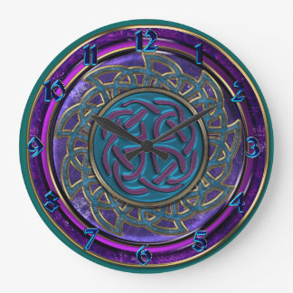Blue Purple and Gold Layered Celtic Knots Clock