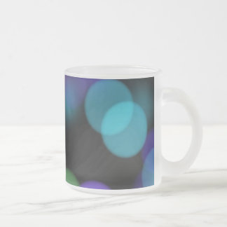 Blue Purple and Green Colored Lights Reflections Frosted Glass Coffee Mug