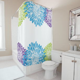 Blue Purple And Lime Green Flower Shower Curtain