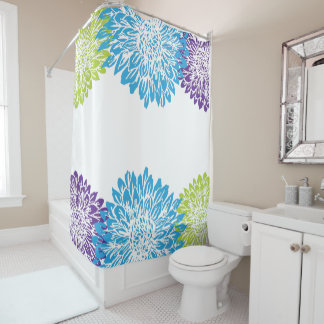 High Quality Blue, Purple And Lime Green Flower Shower Curtain