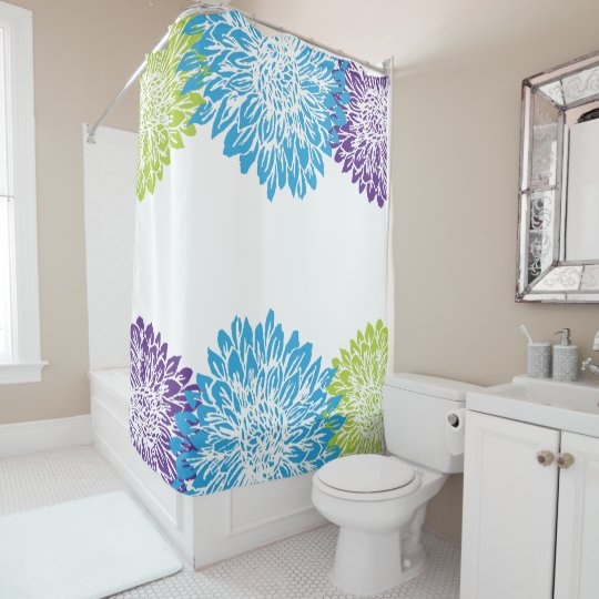 Blue, Purple and Lime Green Flower Shower Curtain | Zazzle.com