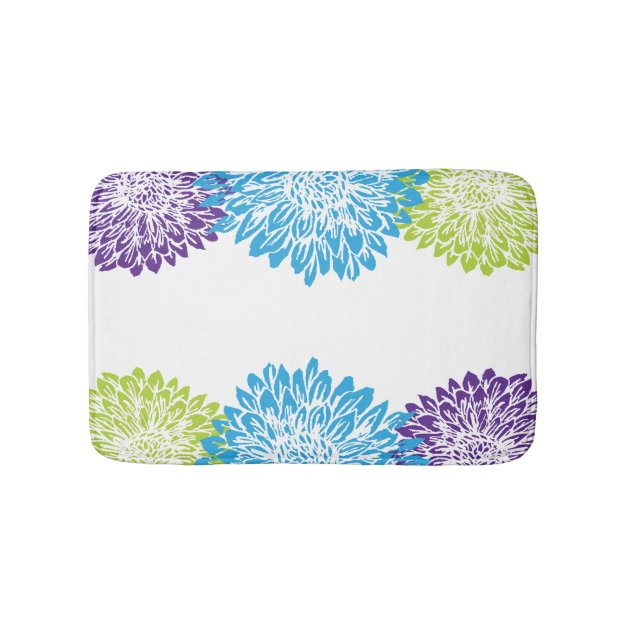 Blue Purple And Lime Green Mums Bath Mat Zazzle Com