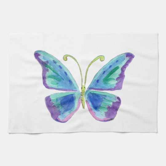 Blue Purple And Magenta Butterfly Kitchen Towels Zazzle Com