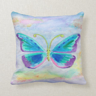 Blue Purple and Magenta Butterfly Throw Pillow