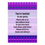 Blue Purple and Pink Stripy Pattern Custom Invites