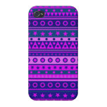 Blue Purple and Pink Stripy Pattern Covers For iPhone 4