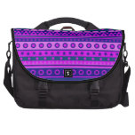 Blue Purple and Pink Stripy Pattern Laptop Commuter Bag