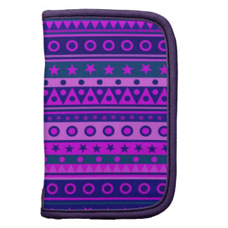 Blue Purple and Pink Stripy Pattern Folio Planners