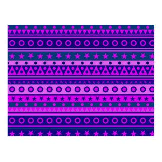 Blue Purple and Pink Stripy Pattern Postcard