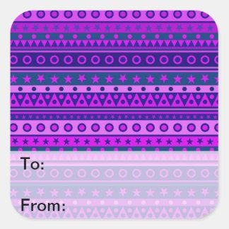 Blue Purple and Pink Stripy Pattern Square Sticker