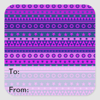Blue Purple and Pink Stripy Pattern Stickers