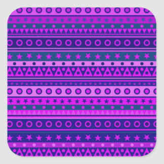 Blue Purple and Pink Stripy Pattern Square Stickers