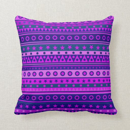 Blue Purple and Pink Stripy Pattern Throw Pillows Zazzle