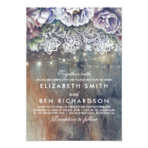 Blue Purple and Plum Vintage Floral Lace Wedding Card