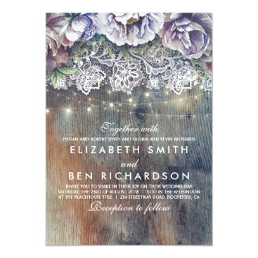 lovelywow Blue Purple and Plum Vintage Floral Lace Wedding Card