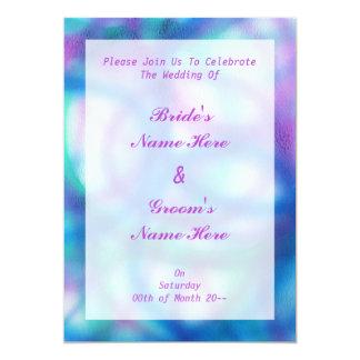 "Blue, Purple and Teal Wedding. 5"" X 7"" Invitation Card"