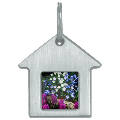 Blue Purple And White Floral Design Products Pet Tag