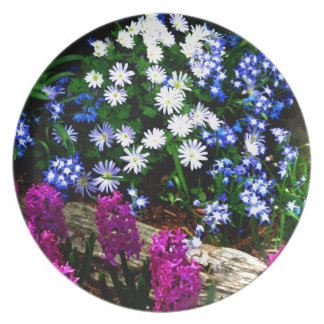 Blue Purple And White Floral Design Products Plates